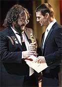 Peter Jackson recibiendo un Oscar