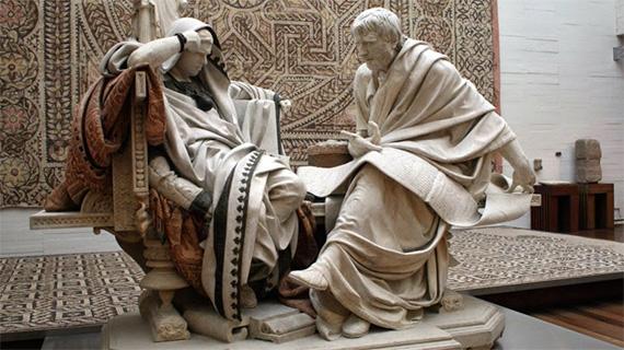 Nerón y Séneca, en la estatua de Eduardo Barrón
