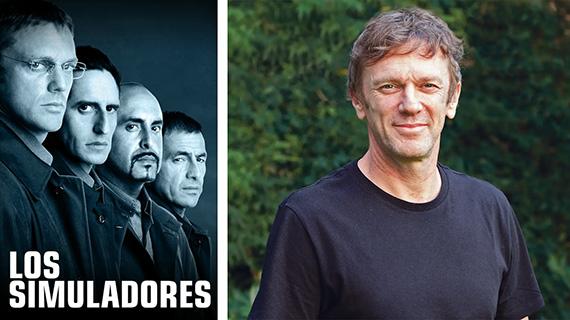 """Cartel de """"Los simuladores"""" y Federico D'Elía, quien propuso la encuesta"""