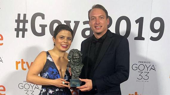 """Gabriela Rodríguez, con Nicolás Celis, ambos productores de """"Roma"""" junto a Cuarón"""
