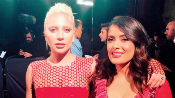 Salma Hayek con Lady Gaga