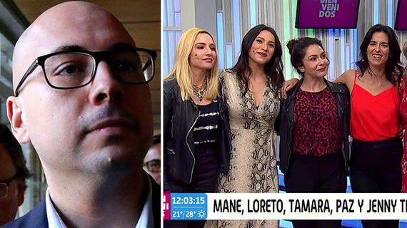 """Nicolás López y varias de las intérpretes de """"El grupo"""""""