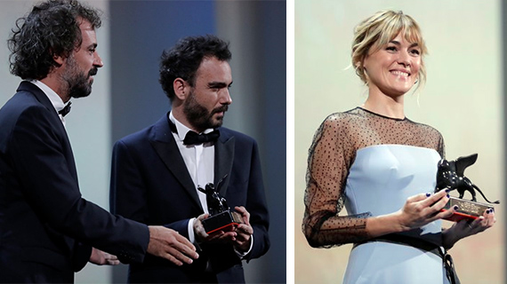 Théo Court y Marta Nieto reciben sus respectivos premios el sábado en Venecia