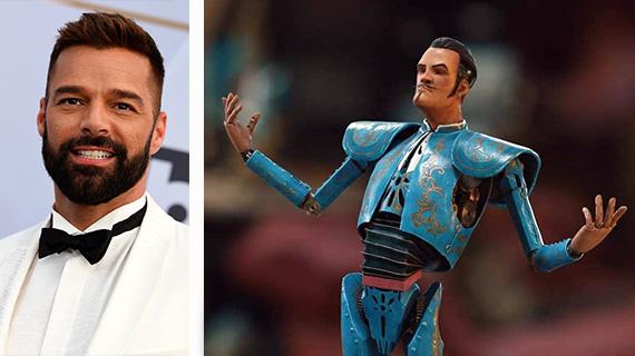 "Ricky Martin y su personaje en ""Jingle Jangle"""