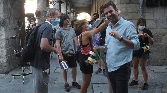 Arturo Valls, en un momento del rodaje bilbaíno