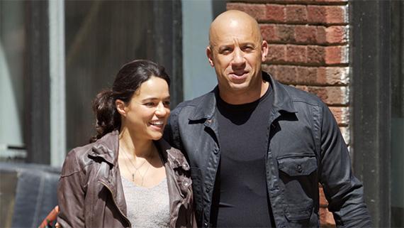 Michelle Rodríguez y Vin Diesel, estrellas de la saga motorizada