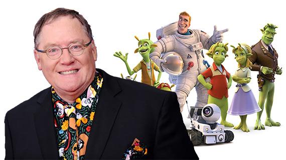 """Lasseter y los personajes de """"Planet 51"""""""