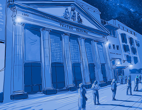 El Teatro Olimpia tendrá un tercio de su aforo (dibujo Lorenzo Caudevilla)