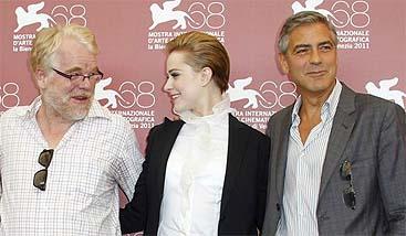 Philip Seymour Hoffman, Evan Rachel Wood y George Clooney (AP)
