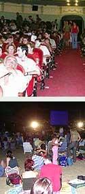 Aficionados en el Gran Teatro y la playa