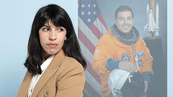 Alejandra Márquez Abella y el astronauta Hernández