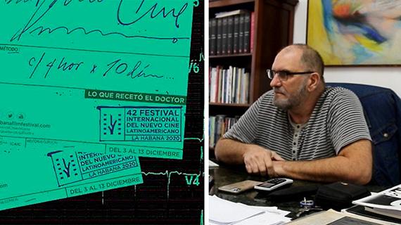 Cartel del festival y su presidente, Iván Giroud