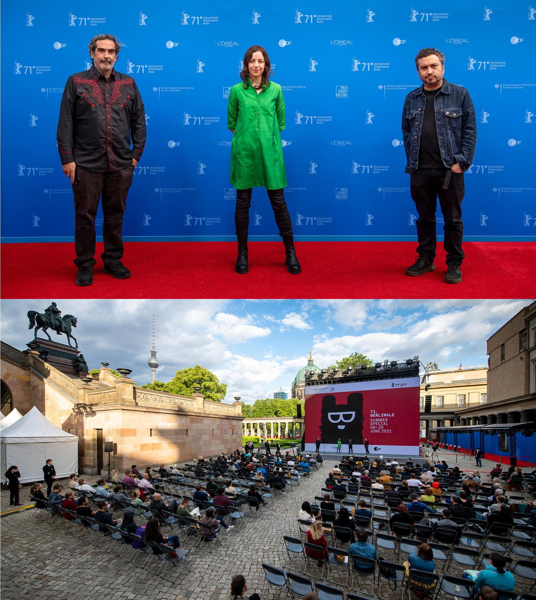 Yibran Asuad, la productora Elena Fortes y Ruizpalacios, con el cine al aire libre donde se proyectó (Berlinale)